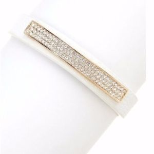 White Faux Leather Glass Crystal Pave Bracelet